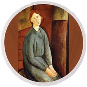 Portrait Of Annie Bjarne Round Beach Towel