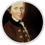 Portrait Of Emmanuel Kant Round Beach Towel