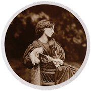 Portrait Of Jane Morris Round Beach Towel by John Parsons