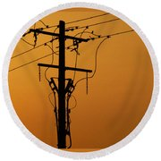 Power Line Sunset Round Beach Towel