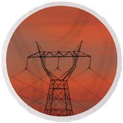 Power Lines Just After Sunset Round Beach Towel