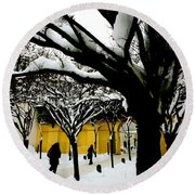 Prague Winter  Round Beach Towel