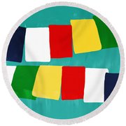 Prayer Flags Round Beach Towel by Linda Woods