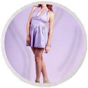 Pretty Brunette Pin Up Woman In Purple Dress Round Beach Towel