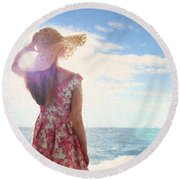 Pretty Young Woman Looking Out To Sea Round Beach Towel