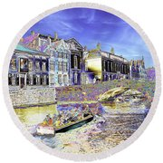 Psychedelic Bruges Canal Scene Round Beach Towel