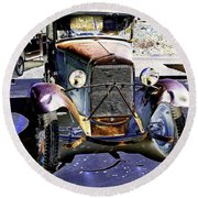 Psychedelic Old Pickup Truck 2 Round Beach Towel