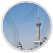Pudong Skyline In Shanghai China Round Beach Towel