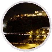 Puerto De La Cruz By Night Round Beach Towel