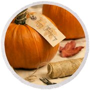 Pumpkins For Thanksgiving Round Beach Towel