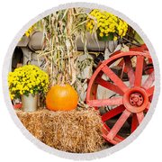 Pumpkins Next To An Old Farm Tractor Round Beach Towel