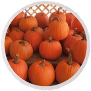 Pumpkins On Pumpkin Patch Round Beach Towel