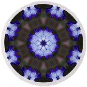 Purple Iris Kaleidoscope Round Beach Towel