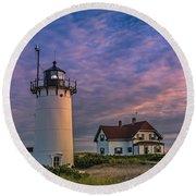 Race Point Lighthouse Sunset Round Beach Towel