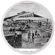 Railroad Accident, 1887 Round Beach Towel