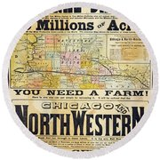Railway Poster, 1870s Round Beach Towel