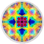 Rainbow Light Mandala Round Beach Towel