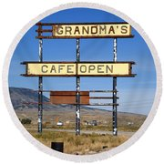 Rawlins Wyoming - Grandma's Cafe Round Beach Towel