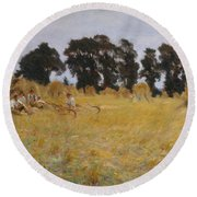 Reapers Resting In A Wheat Field Round Beach Towel