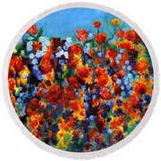 Red And Blue Round Beach Towel