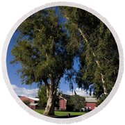 Red Barn Stanford University Round Beach Towel