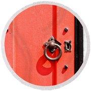 Red Door Round Beach Towel by Tom Gowanlock