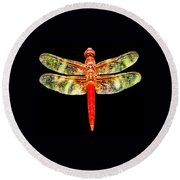 Red Dragonfly Small Round Beach Towel