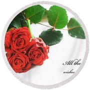 Red Fresh Roses On White Round Beach Towel