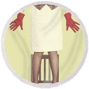 Red Gloves Round Beach Towel