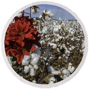 Red In The Cotton  Round Beach Towel