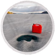 Red Jerrycan Lost On Frozen Lake Laberge Yukon T Round Beach Towel