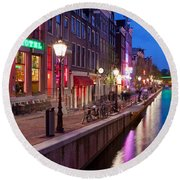 Red Light District In Amsterdam Round Beach Towel