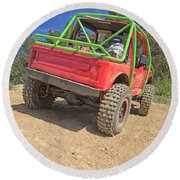 Red Off Road Car  Round Beach Towel