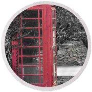 Red Phone Box Round Beach Towel