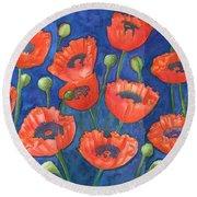 Red Poppies Round Beach Towel