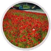 Red Poppy Field Near Highway Road Round Beach Towel