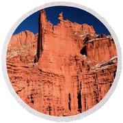 Red Rock Fisher Towers Round Beach Towel