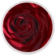 Red Rose Abstract 2 Round Beach Towel