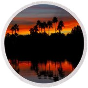 Red Skies  Round Beach Towel