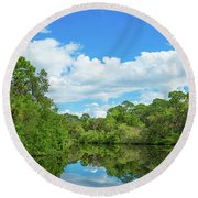 Reflection Of Trees And Clouds In South Round Beach Towel