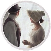 Regency Period Couple At The Window Round Beach Towel
