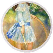 Renoir's Girl With A Hoop Round Beach Towel