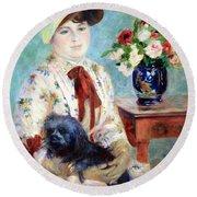 Renoir's Mlle Charlotte Berthier Round Beach Towel