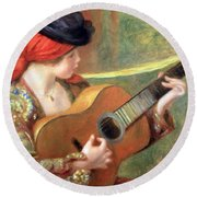 Renoir's Young Spanish Woman With A Guitar Round Beach Towel