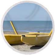 Rescue Boat Round Beach Towel