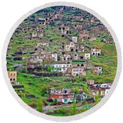 Residents Moved From Homes In Cliffs To Homes Below In 1951 In Cappadocia-turkey Round Beach Towel