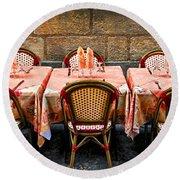 Restaurant Patio In France Round Beach Towel