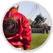 Retired Marine Paying Respect Round Beach Towel