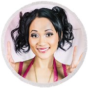 Retro Asian Girl Gesturing Peace Love And Hope Round Beach Towel