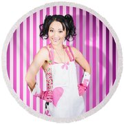 Retro Cleaning Service Maid With Smile Round Beach Towel